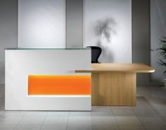 Reception Desk in white, orange and wood