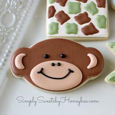 Simply Sweets by Honeybee: Simple Monkey Cookies Monkey Cookies, Baby Cookies, Baby Shower Cookies, Iced Cookies, Birthday Cookies, Fun Cookies, Cupcake Cookies, Sugar Cookies, Cookies Et Biscuits