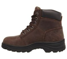 Skechers Work Women's Workshire Peril Memory Foam Steel Toe Work Boots (Dark Brown Leather)