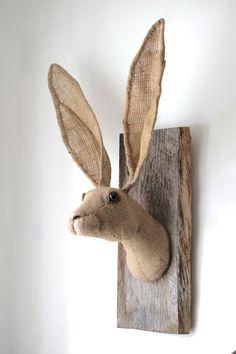 Hessian hare head trophy. Vegetarian wall sculpture. OOAK jute faux taxidermy.