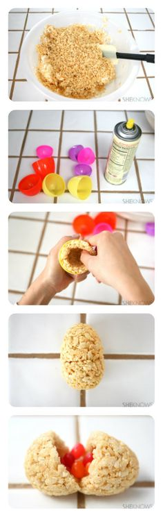 """I am going to do this, but instead of an egg shape, I am going to shape them round to make """"ornaments""""  DIY Cereal Bar Easter Eggs"""