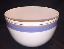 Large Vintage Enamelware Bowl Seppo Mallat Arabia FINEL Taupe Blue Enamel