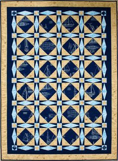Sheets and Spinnakers - PDF Quilt Pattern Boys Quilt Patterns, Quilting Patterns, Storm At Sea Quilt, Sampaguita, Asian Quilts, Nautical Prints, Custom Baby Bedding, Quilt Border, Boy Quilts
