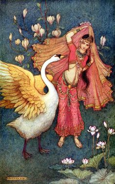 image : Children's / Fantasy Illustrations: Warwick Goble - Damayanti This is another Arabian Nights-esque illustration I found, but I think it is unrelated. Art And Illustration, Art Illustrations, Edmund Dulac, Fantasy Kunst, Fantasy Art, Warwick Goble, Fairytale Art, Inspiration Art, Bedroom Inspiration