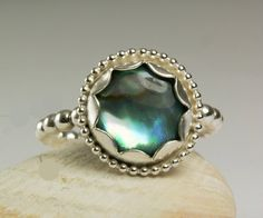 Sterling Silver Abalone Shell Ring Rainbow by TazziesCustomJewelry