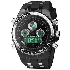INFANTRY Waterproof Black Sports Watch for Men, Big Face Military Analog Digital #Infantry #Military