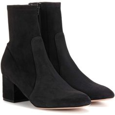 Valentino Suede Ankle Boots (1 460 AUD) ❤ liked on Polyvore featuring shoes, boots, ankle booties, black, black suede ankle booties, black boots, suede ankle boots, suede boots and black suede booties