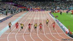 100m men's final athletics event at the London Olympic stadium