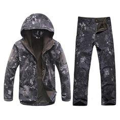 29cf0cf4ebfe9 New Shark skin Hunting Camping Waterproof Windproof Jacket Hoody Jacket+ pants
