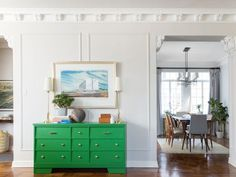 Affordable interior design advice from Homepolish. Green Dresser, Green Drawers, Thrift Store Furniture, Interior Design Advice, Interior Ideas, Home Trends, Discount Furniture, House Painting, House Colors
