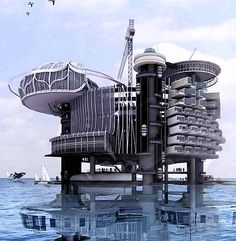 Recycled Drilling Rig becomes a Mini-City.  #OilRig  #OilPlatform