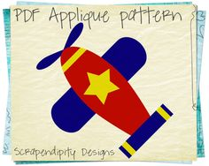 Airplane Applique Pattern Baby Applique by ScrapendipityDesigns