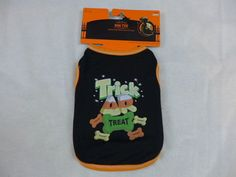 "Halloween Dog Shirt Trick Or Treat With Bones Black & Orange X-Small 10"" LONG #walmart"