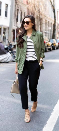 Stylish casual green cargo jacket outfit - I think I would wear this a lot.  or even a similar  military style vest sort of thing