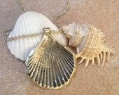 Silver Seashell Necklace, Seashell Sterling Silver Necklace, Seaside Summer Jewelry, Oxidized, Sea Shell Pendant
