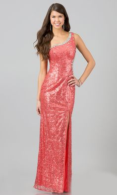 Floor Length Coral Sequins Dress Sexy See Through Side Front Slit  $298.99
