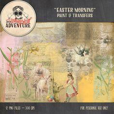 Digital scrapbooking elements, Easter, digital download, vintage ephemera, easter bunny, paint, overlays, transfers, spring, mixed media