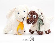 Sammy sheep / sheep pattern by Ami Fan : Free pattern amigurumi crochet Dutch or English free crochet pattern Diy Crochet Amigurumi, Crochet Snail, Crochet Sheep, Crochet Dolls, Free Crochet, Doll Toys, Pet Toys, Farm Animal Toys, Farm Animals
