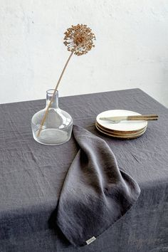 Shop our quality linen tablecloths. Handmade from stone washed, OEKO-TEX certified linen for impressive tablescapes. Various colors, custom sizes available. Linen Placemats, Linen Tablecloth, Linen Napkins, Napkins Set, Table Linens, Bed Linens, Earthy Home Decor, Grey Table, Fabric Samples