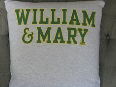 William & Mary T Shirt Throw Pillow by ThePastureRoad on Etsy