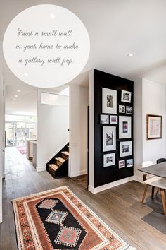 B & W in décor, black gallery wall.  See it all at the Emily A Clark blog