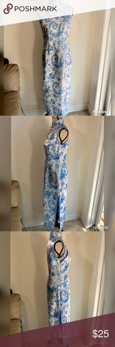 "Chinese Silk Dress Straight from Hong Kong. 100% silk, size says large but doesn't fit a American large. Please see measurements. White and blue. Both sides have slits up the dress. Side zipper. Two button clasp and three loop buttons. Shoulder to shoulder 15"", armpit to armpit roughly 18"", waist 15.25"", hips 19"". Dresses"