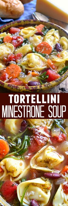 This Tortellini Minestrone Soup is loaded with veggies and packed with delicious flavor! Ready in just 30 minutes!(Kid's like minestrone. Luciano's taste like Campbell's can & it's beef broth, no herbs) Chili Recipes, Slow Cooker Recipes, Pasta Recipes, Crockpot Recipes, Vegetarian Recipes, Chicken Recipes, Cooking Recipes, Healthy Recipes, Veggie Soup Recipes