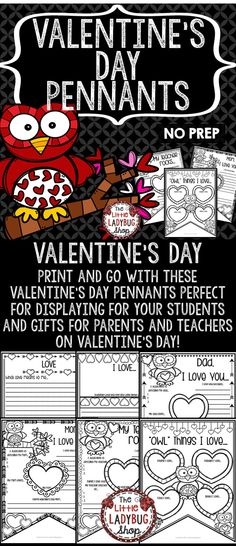 Valentine's Day Activities  Valentine's Day Activities Pennant is perfect for assisting you celebrating LOVE and Valentine's Day in a fun interactive way! This perfect for you to display your special day! Just Print, GO and DISPLAY! Students will LOVE creating and sharing these Pennants.