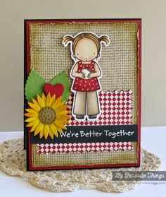 Burlap Background, Fine Check Background, Peanut Butter and Jelly stamp set and Die-namics, Falling Leaves Die-namics, Heart STAX Die-namics, Pinking Edge Rectangle STAX Die-namics, Sunflower Die-namics - Melody Rupple #mftstamps