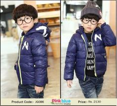 Shop Online Designer party wear baby down woolen jacket with hood in dark blue color. Comfortably wear it during autumn and sunny winter days Warm Outfits, Unique Outfits, Winter Outfits, Casual Outfits, Down Winter Coats, Winter Jackets, Boys Winter Clothes, Dark Blue Color, Winter Weddings