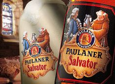 What we're drinkin'. Paulaner Salvator, the original dark Doppel Bock beer. The Paulaner monks drank Salvator as a substitute for food during Lent. #doppelbok #beer