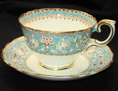 vintage 'Crown Staffordshire' English china tea cup and saucer, for tea at Rose cottages and gardens, Britain