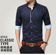 Doprava zadarmo 2015 Man móda slim fit ležérne košele, pánske košele dlhý rukáv camisa masculino, štýl klasický typ muži oblečenia-in neformálne košele od Pánske Oblečenie a doplnky na Aliexpress.com | Alibaba Group