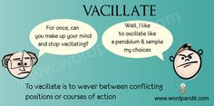 To vacillate means to waver back and forth rather than make a decision.  The website where you can find pictures like this for various vocabulary words appears on the picture.  Next time, I'll pin directly from the we page to create the easy link.