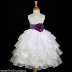 Ivory Tiered Organza Plum Purple Sash Flower Girl Dress Child Recital 2 4 6 8 10 | eBay