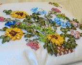 Summer bag, Yellow and Blue Flowers, decorated bag, handmade clutch, FREE SHIPPING