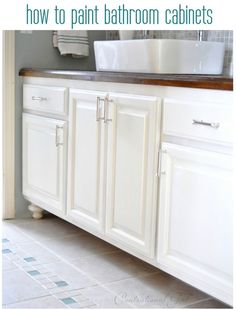 CG's painted bathroom cabinets:BM Advance water based alkyd enamel paint in semi gloss or gloss. This paint acts like an oil based paint, with a longer open time and it also levels well which reduces visible brush strokes. The color I chose for these cabinets is 'Soft Chamois'.