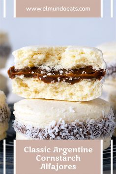 Super soft cornstarch cookies sandwich together with sweet creamy dulce de leche and rolled in coconut flakes. A classic and delicious Argentine snack. Cornstarch Cookies, Argentine Recipes, Sandwich Cookies, Corn Starch, Coconut Flakes, Tray Bakes, Vanilla Cake, Bakery, Sweets