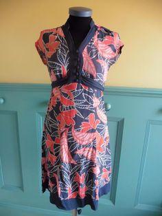 SIZE UK 8 MONSOON BLUE ORANGE FLORAL PRINT SUMMER DRESS CASUAL DRESS | eBay