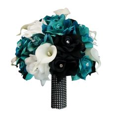 """10"""" Bouquet:Jade Black White artificial roses with real touch calla lily"""