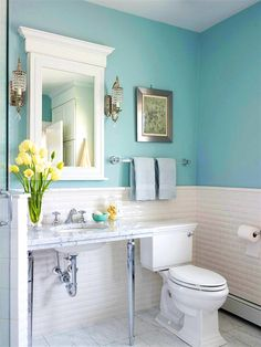 White Subway Wall Tile And Teal Wall Paint