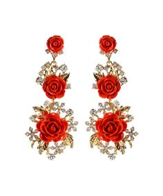Look at this Amrita Singh Coral & Austrian Crystal Lyon Floral Drop Earrings on #zulily today!