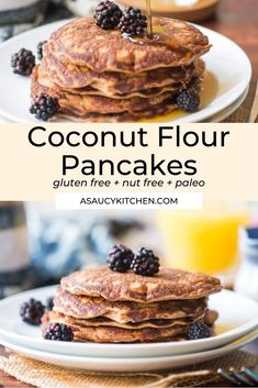 Soft and simple Coconut Flour Pancakes made with grain and nut free flours. Gluten Free + Paleo + Dairy Free Nut Free, Dairy Free, Coconut Flour Pancakes, Paleo Dairy, Almond Flour Recipes, Gluten Free Breakfasts, Betty Crocker, Healthy Eats, Muffins