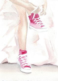 Original watercolor painting wedding dress pink by HelgaMcL http://etsy.me/YxAbpd $20.00