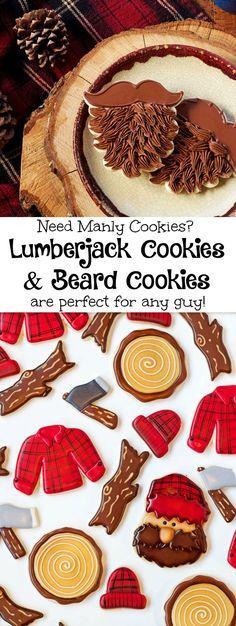 Simple Beard and Lumberjack Cookies- www.thebearfootbaker.com