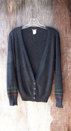 Vintage 1970's lightweight charcoal grey cardigan by GloriousMorn, $38.00