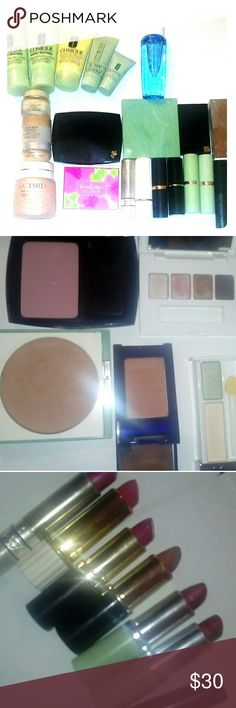 makeup lot 9 facial care products variety of eyeshadow blush and check pallets 6 lipsticks 2 mascaras one  make up remover Clinique lancome Estee Lauder shiseido Clinique Makeup