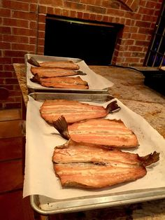 Smoked trout recipe explains how to brine the fish for 8-12 hours, then dry it (optional), and smoke it with pecan wood. It's flaky, light with rich flavor.