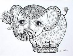 Elephant Calf Abstract Doodle Zentangle ZenDoodle Paisley Coloring pages colouring adult detailed advanced printable Kleuren voor volwassenen coloriage pour adulte anti-stress kleurplaat voor volwassenen