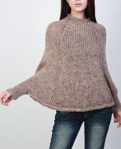 Handknit cotton poncho knit sweater woman Top knit by MaxMelody